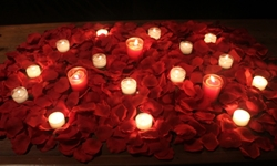 Romance package, 3000 Silk Petals + candles, Dark Red